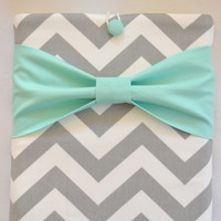 "Macbook Pro 13 Sleeve MAC Macbook 13"" inch Laptop Computer Case Cover Grey & White Chevron with Mint Bow"