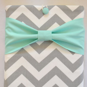"Macbook Air 11 Sleeve MAC Macbook 11"" inch Laptop Computer Case Cover Grey & White Chevron with Mint Bow"