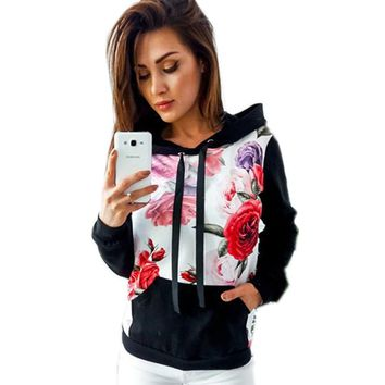 Floral Casual Hoodie Sweatshirt For Women Hooded Pocket Tracksuit Pullover Overalls Autumn Women Clothes Tops Shirts WS2216Z