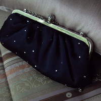 Rhinestone Clutch Purse Evening Navy Blue Satin Handbag Shoulder Bag