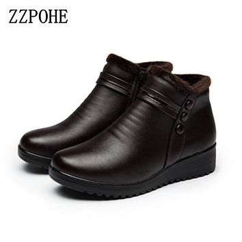 ZZPOHE 2017 Fashion Winter Boots Women Genuine Leather Ankle Warm Boots Mom autumn plush wedge shoes Woman shoes Big Size 35-41