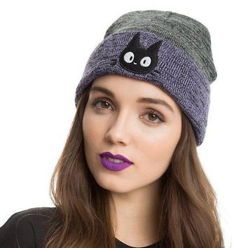 DCCK7HE Perfect Cute Cat Embroidery Women Men Beanies Winter Knit Hat Cap