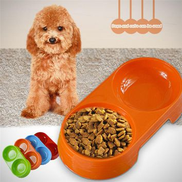 Food bowl for Dog Cat Double Food Plastic Bowls Pet Feeding Drinking Dish Supplies