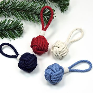 Monkey Fist Christmas Ornament, Nautical Colors