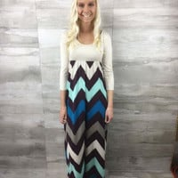Chevron Print Skirt Maxi Dress - CLOSEOUT