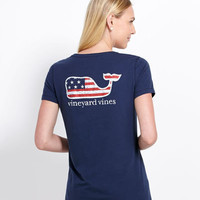 Womens Tees: Flag Whale Pocket Tee for Women - Vineyard Vines