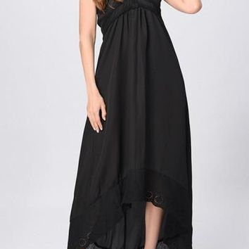 Black Patchwork Lace Zipper Tie Back Halter Neck High-low Maxi Dress