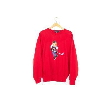 RALPH LAUREN polo bear sweater - vintage 90s - 1990s hockey polo bear sweatshirt - med