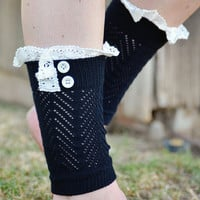 Black Button Ruffled Crochet Knitted Leg Warmers