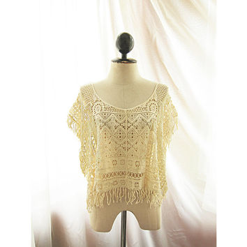 Cream Crochet Aztec Lace Indie Summer Persian Poncho Kaftan Cover Up Butterfly Wings Jane Austen Bohemian Elven Great Gatsby Sheer Kaftan