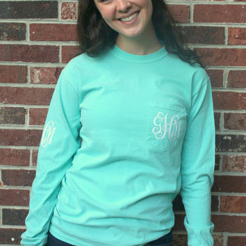 ADULT Comfort Colors Monogram Long Sleeve Longsleeve Pocket Tee T-shirt- Cute and Preppy