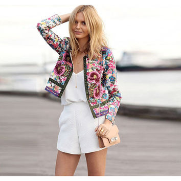 2016 Spring Autumn cropped bomber jacket women vintage flower floral print fashion casual slim Cardigan slimming Thin d639