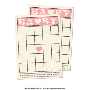 "Digital Baby Shower Bingo Cards/ pink retro baby girl / 5"" by 7"" / downloadable / printable / DIY / baby shower party supplies"