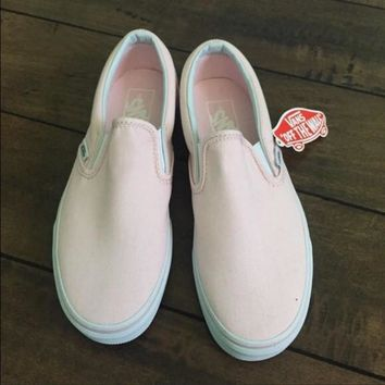 vans slip on pink canvas leisure shoes