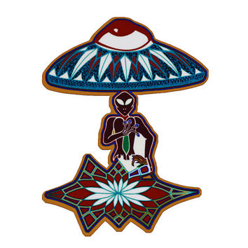 Alien Magnet- Fridge Magnet- Alien Ufo- Ufo Magnet- crop circles- Mushrooms- Alien Crop circles-Art Magnet- Art gift-Psychedelic Magnet