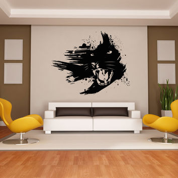 Vinyl Wall Decal Sticker Growling Panther #OS_AA665