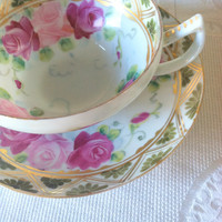 Antique Fine Bone Handpainted China/Teacup and Saucer/Tea Party/Cottage Style