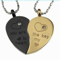 R.H. Jewelry Mens Womens Lovers Couple Stainless Steel Pendant Necklace Set Gold & Black Two Tone Split Heart:Amazon:Jewelry