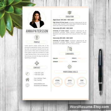 Resume Template | CV Template + Cover Letter and References for MS Word | 4 pages Instant Digital Download | Curriculum Vitae