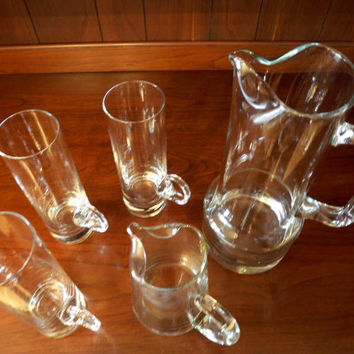 Irish Coffee Set, Vintage Hand Blown Glass Cream Pitcher, Coffee Pitcher, & 3 extra tall narrow Irish Coffee Glasses