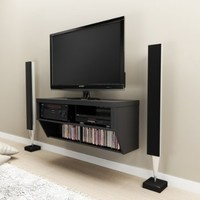 """Black 42"""" Wide Wall Mounted AV Console - Series 9 Designer Collection"""