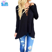 2016 Western High Street Style Long Sleeve T Shirt Women Sexy Cross Lace-up Deep V-Neck T-Shirt with Hood Loose Casual Tops Tees