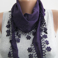 Purple cotton scarf plum eggplant lace scarf spring by sascarves