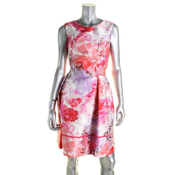 Vince Camuto Womens Floral Print Fit & Flare Wear to Work Dress