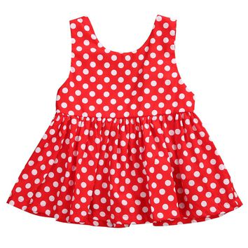 Newborn Infant Toddler Baby Girls Cute Red Sunsuit Dot Mini Dress Sleeveless Outfit Clothes 0-24 Month