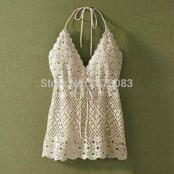 Women cute summer beach camisole lace crop top sexy deep v neck spaghetti strap tank tops colete crochet halter top