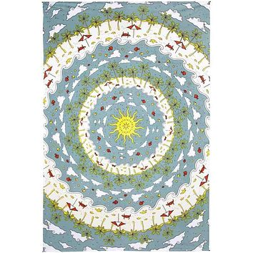 Mandala Tapestry Wall Hang Beach Tropical Sun Tablecloth Beach Sheet 60x90 Blue