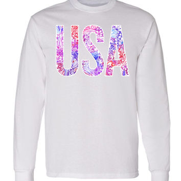 'USA' Floral Pattern Long Sleeve