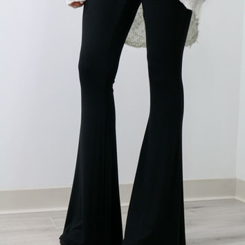 Let's Get Away Black High Waisted Fit & Flare Pants