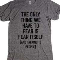 Fear Of Talking To People-Unisex Athletic Grey T-Shirt