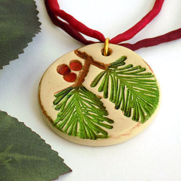 Green Pine and Red Berry Pendant Necklace Handcrafted Silk Ribbon Long Gold