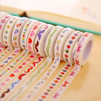 DIY Cute Kawaii Japanese Washi Tape Lovely Flower Bird Masking Tape For Home Decoration Scrapbook Photo Album Free Shipping 3056