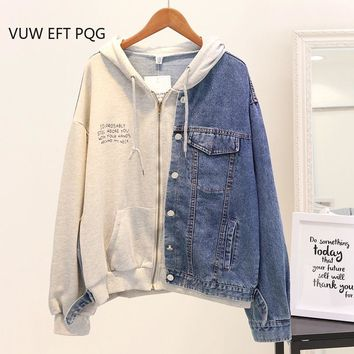 New Autumn Hooded Denim Jacket Women Loose Stitching jacket coats Student Casual Letter-printed Hoodies Female Jeans Outwear