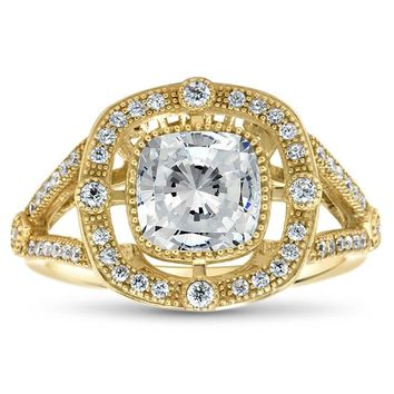 Split Shank Cushion Cut Vintage Inspired Forever One Engagement Ring - Diane