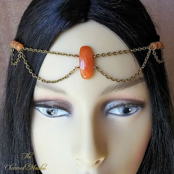 Peach Aventurine Circlet, Renaissance, Head Chain, Orange Circlet, Headdress, Bronze Head Chain, Gemstone Circlet, Medieval, Pagan, Boho
