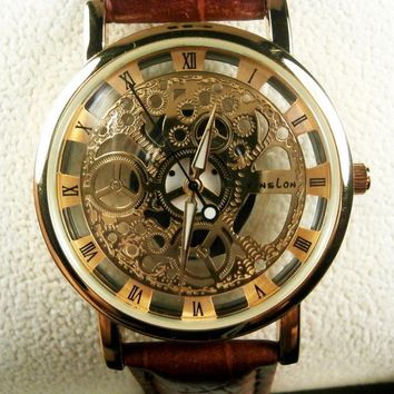 genuine leather strap automatic mechanical watch men 2