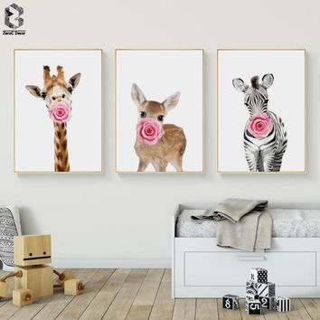 Giraffe Zebra Deer Animal Posters and Prints Canvas Painting Wall Art Nursery Decorative Picture Nordic Style Kids Decoration