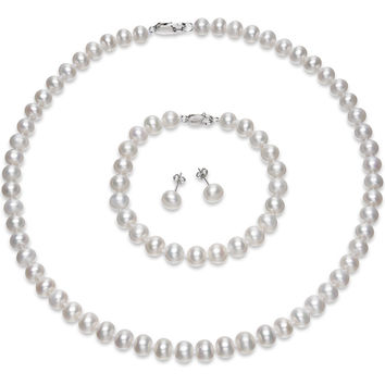 FEIGE High Quality Bridal Pearl Jewelry 8-9mm Natural White Freshwater Pearl Jewelry Sets For Women's Wedding Engagement Jewelry