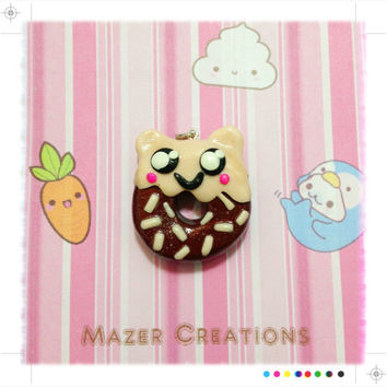 Chocolate Creature Donut Pendant Polymer Clay Kawaii