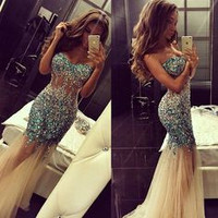 A-681 Sparkly Artificial Rhinestone Beaded Mermaid Prom Dress Champagne Tulle Long Evening Dress New Fashion Prom Dress