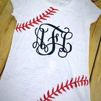 Baseball Monogram Shirt- Burnout Shirt