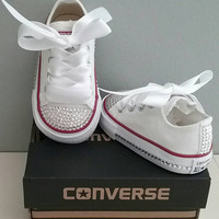 White Converse, Bling Crystals, Toddler Sizes, 2-10, Bedazzled Toes, All Around, Up The Back, You Choose, Baby Girls
