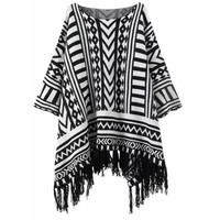 Geometric Print Knitted Tassel Cloak Sweater