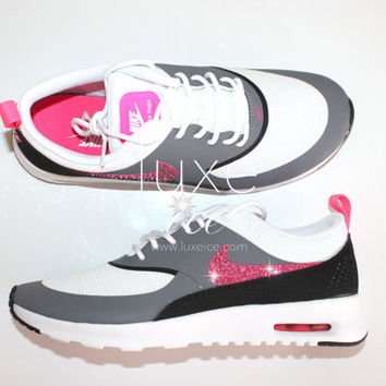 Nike Air Max Thea shoes w/Swarovski Crystals detail - White/Hyper Pink/Cool Grey/Black