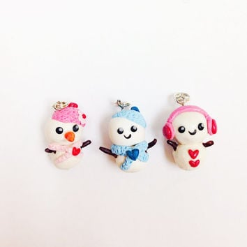 3 best friend charms, snowman party favors, miniature snowman charms, kawaii polymer clay charms, cute clay charm, necklace, key chain