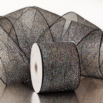 Black Silver 4 inch x 20 yards Half Solid Metallic Sparkle Deco Mesh Wreath Decorative Ribbon